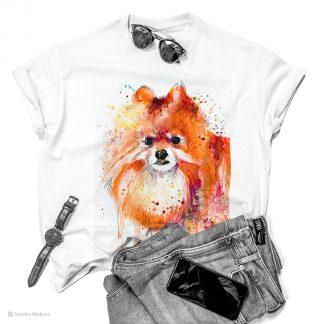 Унисекс тениска с куче померан