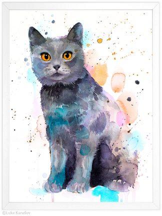 котка британска късокосместа, акварелна картина
