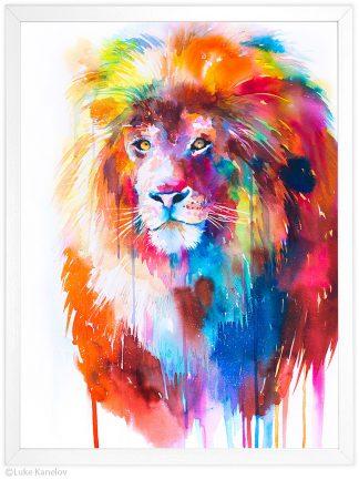 лъв, цветна акварелна картина