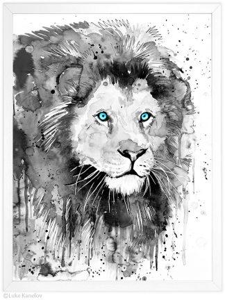 черно бял лъв акварелна картина