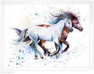 бял и кафяв кон, акварелна картина