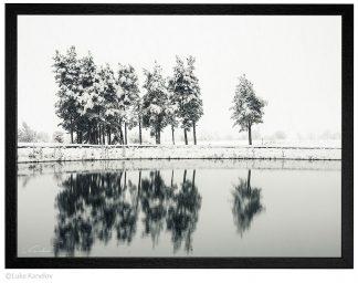 зимно отражение пейзажна фотография