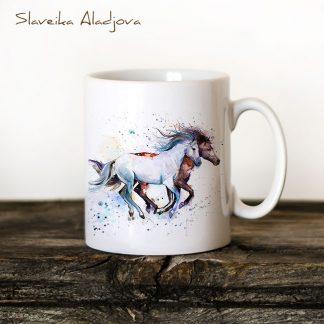 чаша бял и кафяв кон художник Славейка Аладжова