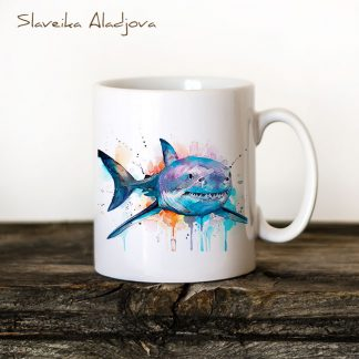 Чаша голяма бяла акула - Художник Славейка Аладжова