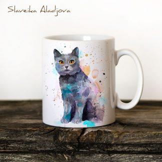 Чаша Котка британска късокосместа - художник Славейка Аладжова