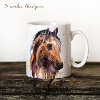 чаша Английски чистокръвен кон, акварелна картина, художник Славейка Аладжова