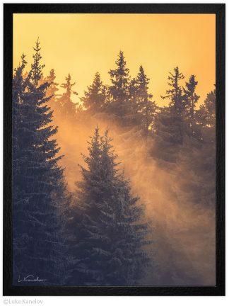 зимен залез пейзажна фотография
